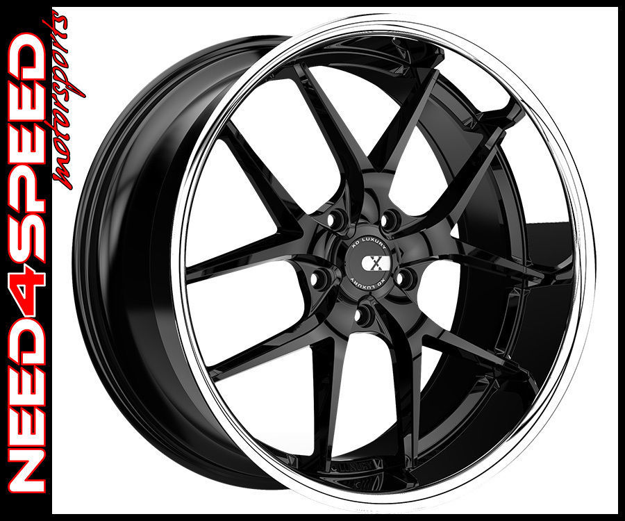"22"" XO Luxury Athens Gloss Black W/Lip Concave Wheels For"