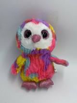 Goffa Owl Plush Stuffed Animal Pink Glitter Eyes Rainbow Tie Dye Yellow Purple A - $10.99