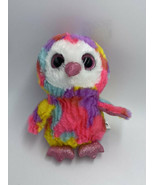 Goffa Owl Plush Stuffed Animal Pink Glitter Eyes Rainbow Tie Dye Yellow ... - $10.99