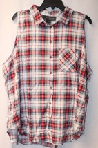 New Womens Plus Size 3 X Red Blue Plaid Button Up Down Sleeveless Tank Top Shirt - $17.40