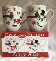 Fitz and Floyd Cups Mugs Coffee Hot Chocolate Cocoa 2011 NIB Santa Snowm... - $15.97