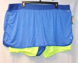 NEW DANSKIN WOMENS PLUS SIZE 4X BRITE BLUE & YELLOW 2fer KNIT ATHLETIC S... - $19.34