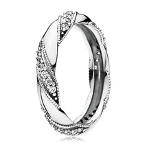 925 Sterling Silver Ribbon of Love with Clear CZ Ring For Women QJCB837 - $21.99