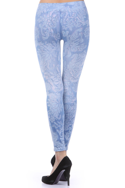 M-Rena Brocade Print Seamless Rayon Leggings. One Size image 2