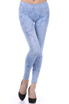 M-Rena Brocade Print Seamless Rayon Leggings. One Size image 1