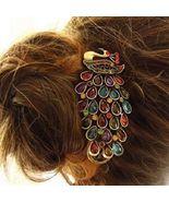 New Retro Vintage Peacock Hair Clip Crystals Bronze  Fashion Barrett - $6.75