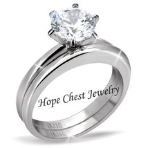 HCJ Never Fades 1.25 Ct Solitaire Stainless Steel CZ Wedding Ring Set Si... - $17.98