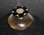 "VINTAGE PERFUME BOTTLE CARON WITH BEAUTIFUL CARVED FLOWER STOPPER 2 1/4"" TALL"