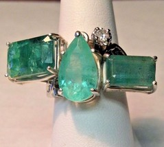 New Huge Chistick 12ct 3 stone Emerald .25ct diamond 14k gold Statement ... - $9,999.99