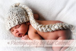 NEWBORN BABY BOY TAN BEANIE HAT WITH LONG BRAIDED TAIL PHOTO PROP - $13.00