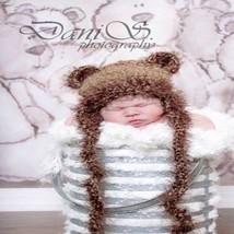 NEWBORN BABY BOY OR GIRL BROWN TEDDY BEAR HAT PHOTO PROP - $12.00
