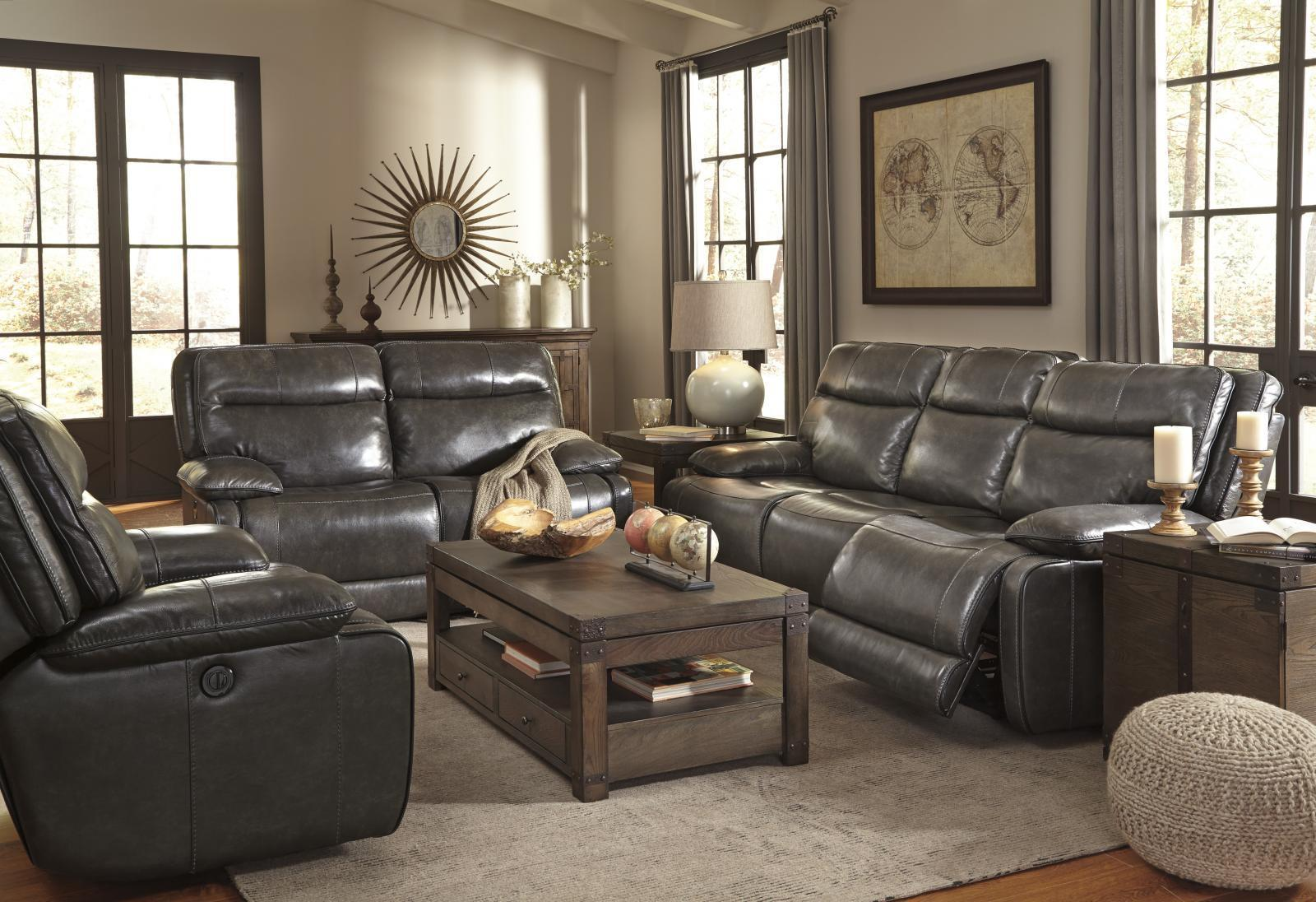 Ashley Palladum Power Living Room Set 3pcs in Metal Genuine Leather Contemporary