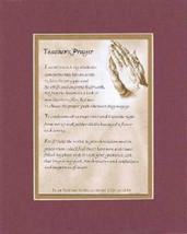 Heartfelt Plaque for Teachers - Teacher's Prayer Poem on 11x14 Double-Beveled Ma - $15.95