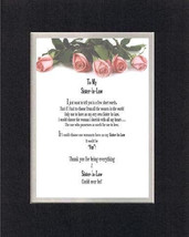 Heartfelt Poem for Sisters – To My Sister-in-Law . . .  on 11x14 Double Matting - $15.95
