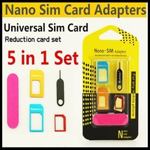 5X Metal Nano Micro SIM Card Adapters Set & Eject Pin for iPhone 6/5s/5/4s/4 - $11.24