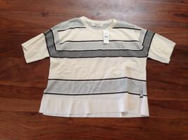 Ann Taylor LOFT Women Sweater S Crop Short Sleeves Gray Off White Striped New - $29.99