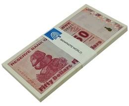 Zimbabwe 50 Dollars X 50 Pieces (PCS), 2009,P-96,UNC,Half Bundle,50&100 ... - $74.99