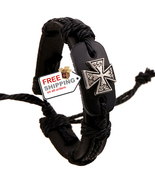 Cross Leather Bracelets Top-layer Cow Leather Jewelry Fashion - $12.00