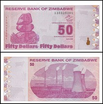 Zimbabwe 50 Dollars, 2009, P-96, UNC, 50 & 100 Trillion Series - $4.99