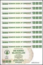 Zimbabwe 100 Million Dollars Bearer Cheque X 10 Pieces (PCS), 2008, P-58... - $39.99