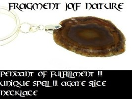 Pendant of Fulfillment !!! Unique Spell !!! Agate Slice Necklace 19 Inches - $36.81