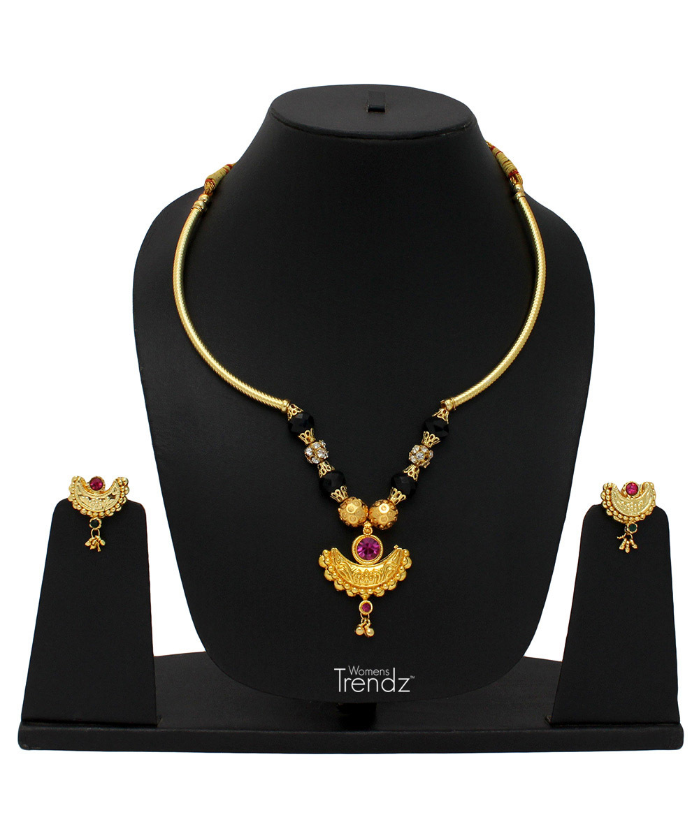 Womens Trendz Traditional Ethnic and Antique 24K Gold Plated Necklace and Earrings Set