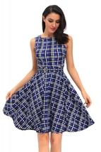 Vintage Check Print Swing Dress in Blue - $38.95