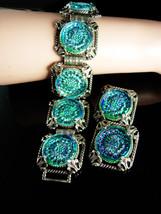 Bookchain Bracelet Stunning stone Vintage Glass Bracelet clip on earrings molded - $255.00