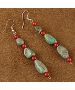 Green Turquoise Nugget and Red Coral Bead Frenc... - $29.97
