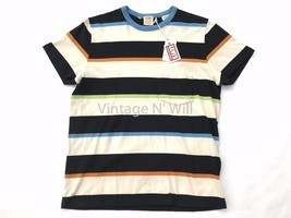 Levis Vintage LVC Casuals Mens M 60s Beige/Black Striped Ringer Pocket T... - $85.49