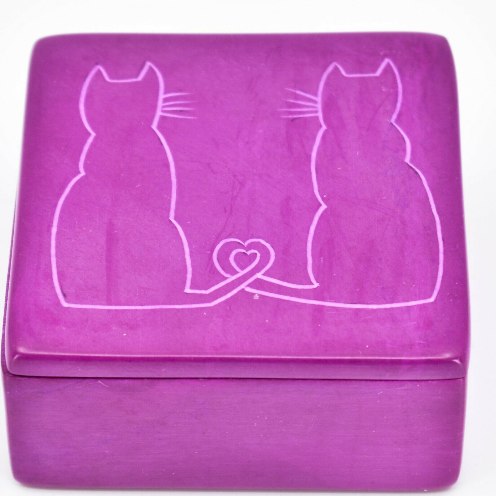 "Vaneal Group Hand Carved Kisii Soapstone Kitty Cat Love Fuchsia 3"" Trinket Box"