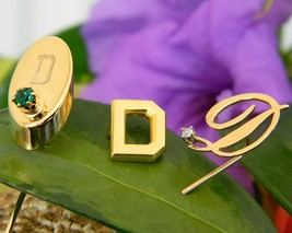 Vintage Lot 3 Initial Letter D Stick Pin Tie Tack Hat 14k Gold Diamond - $44.95