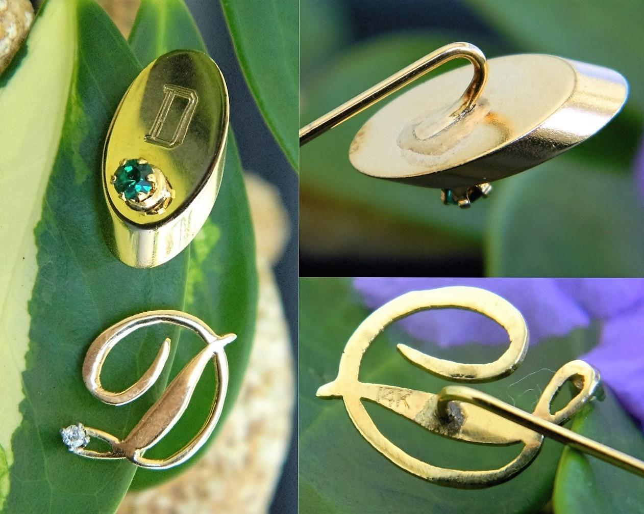 Vintage Lot 3 Initial Letter D Stick Pin Tie Tack Hat 14k Gold Diamond