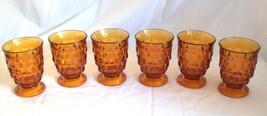 6 Vintage Amber Glass Water Goblets Pedestal Glasses Juice dessert parfait - $31.44