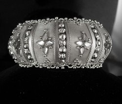 "Rhinestone BRacelet Clamper 8"" Bangle Gypsy bracelet Bridal jewelry Extr... - $55.00"