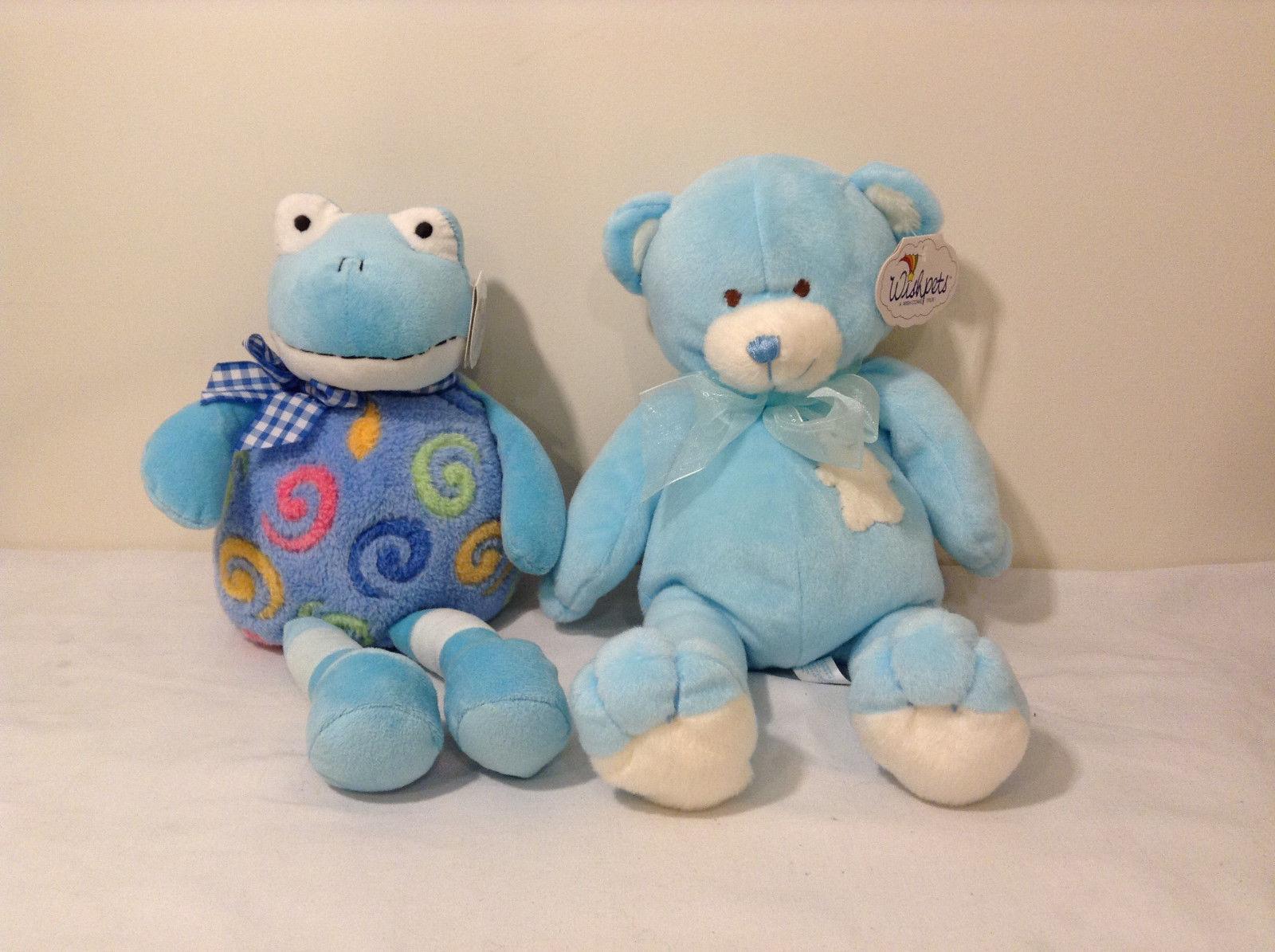 Set of 2 Wishpets Teddy Bear & Toad Frog Plush Stuffed Animal Toys Light Blue