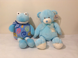 Set of 2 Wishpets Teddy Bear & Toad Frog Plush Stuffed Animal Toys Light Blue