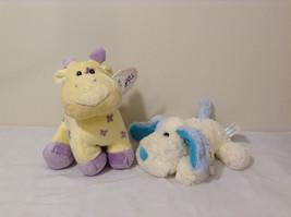 Set of 2 Wishpets Pastel Yellow Purple Rattle Giraffe & Cream Blue Puppy Dog