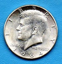 1964 Kennedy Halfdollar (uncirculated) - Silver - BRILLANT - $25.00