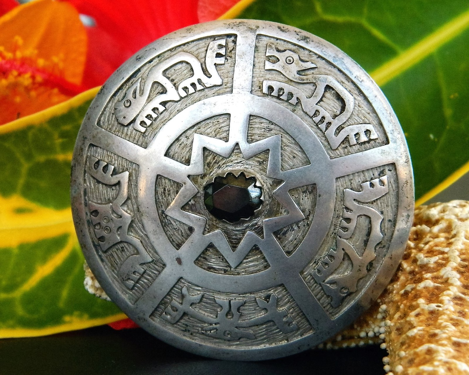 Primary image for Vintage Ecuador 900 Silver Gemstone Pendant Brooch Animal Petroglyphs