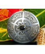Vintage ecuador 900 silver gemstone pendant brooch animal petroglyph thumbtall