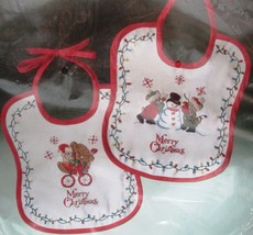 Bucilla Set of 2 Christmas Baby Bibs Stamped Embroidery Kit Snowman Bears - $12.55