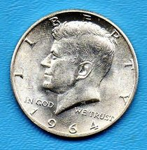 1964 D Kennedy Halfdollar (uncirculated) - Silver - BRILLANT - $25.00