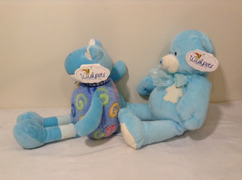 Set of 2 Wishpets Teddy Bear & Toad Frog Plush Stuffed Animal Toys Light Blue image 3