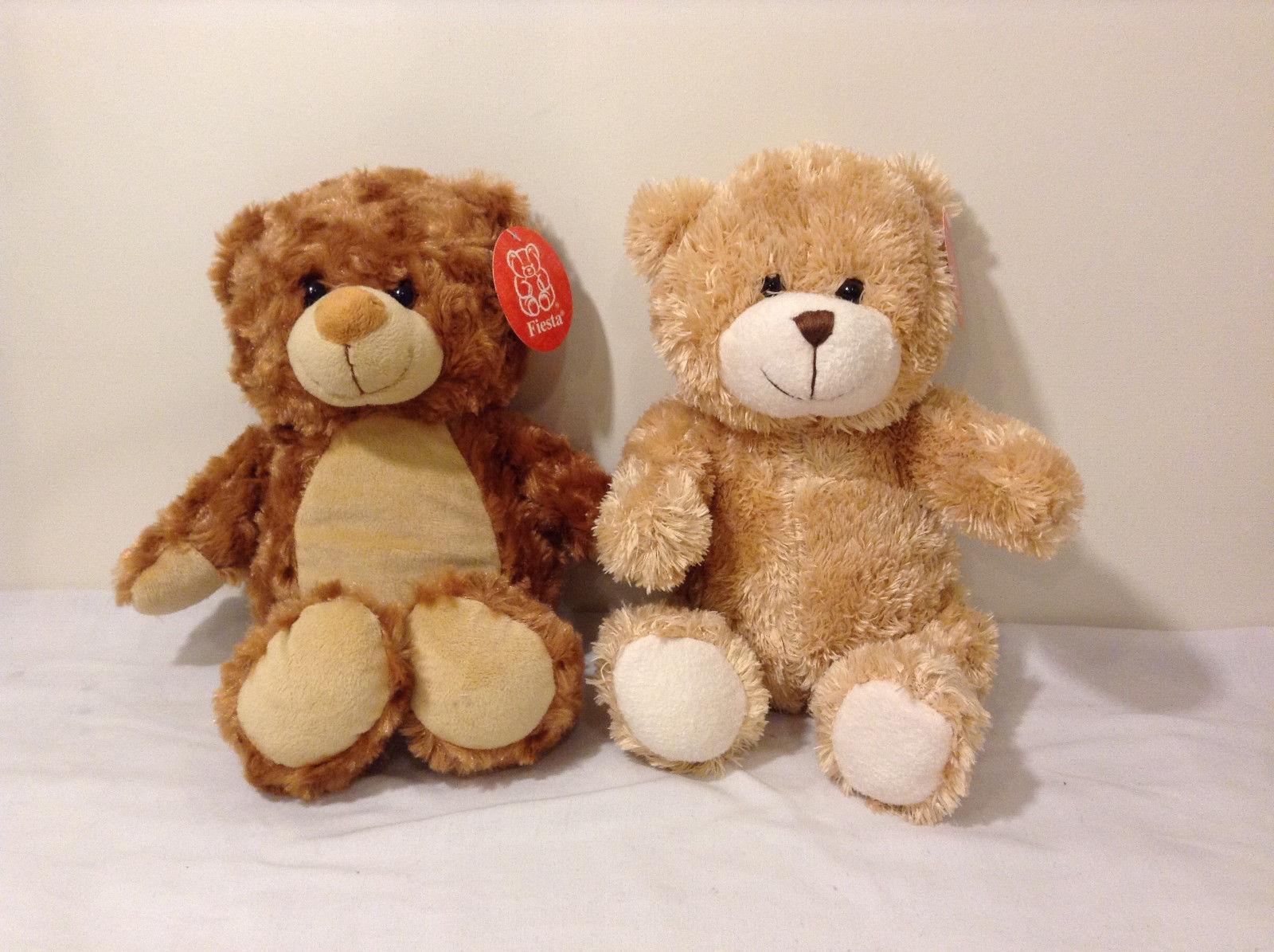 Set of 2 Fiesta Teddy Bear Stuffed Animals Caramel Light Golden Brown Plush Shag