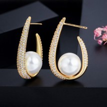 Ique trendy micro pave cubic zirconia u shape yellow gold color big pearl hoop earrings thumb200