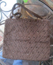 Vintage Purse Copper Bronze Glass Beaded Evening Bag Possibly Charlet Pa... - $25.00
