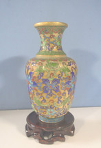 Vintage cloisonne vase with wood stand pre-owned mid 1900s unused c - $36.67