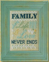 CLEARANCE Family Never Ends Words Of Wisdom 32ct linen kit Pine Mtn Designs - $12.60