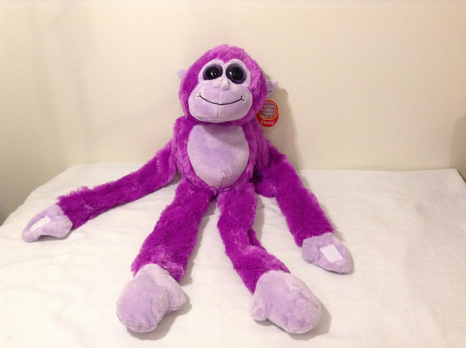 Fiesta Plush Monkey Stuffed Animal Toy Fuchsia Purple w Tummy Belly Sound Noise